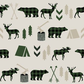 buffalo plaid fabric moose camping bear fabric