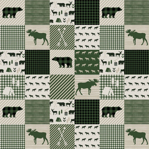 moose quilt cheater quilt hunter green and tan moose camping arrows