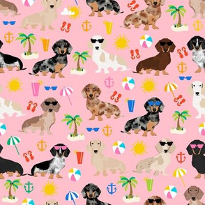 dachshund summer beach fabric - doxie design summer beach day - pink