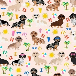 dachshund summer beach fabric - doxie design summer beach day - blush