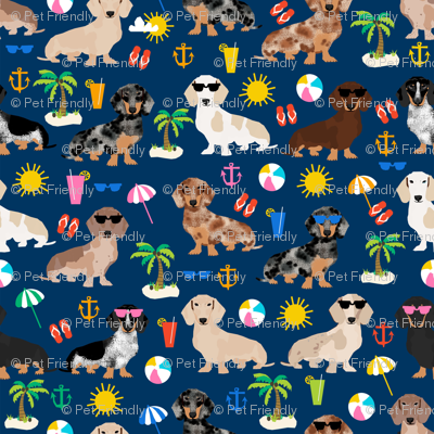 dachshund summer beach fabric - doxie design summer beach day - navy