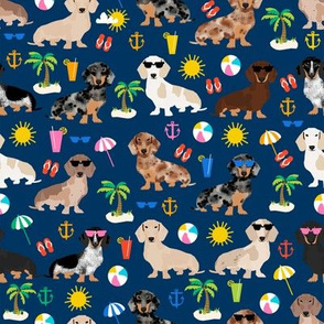 dachshund summer beach fabric - doxie design summer beach day - navy