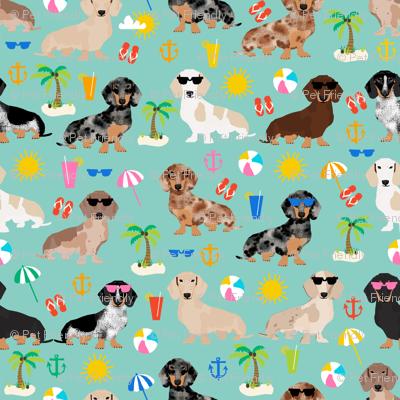 dachshund summer beach fabric - doxie design summer beach day - lite