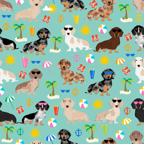 dachshund summer beach fabric - doxie design summer beach day - lite fabric by petfriendly on Spoonflower - custom fabric