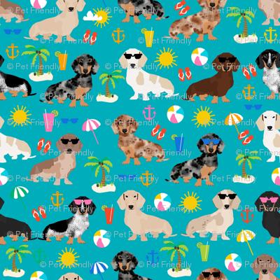dachshund summer beach fabric - doxie design summer beach day - peacock
