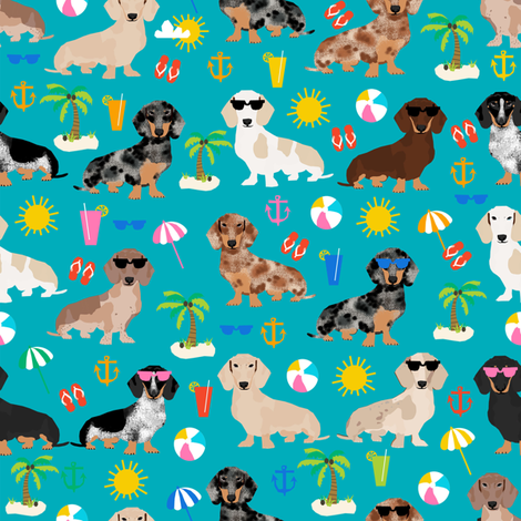 dachshund summer beach fabric - doxie design summer beach day - peacock fabric by petfriendly on Spoonflower - custom fabric