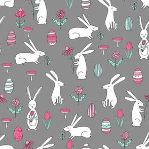 easter bunnies // dark grey bunny easter egg spring florals spring