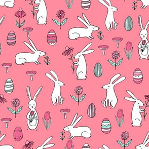 easter bunnies // medium pink bunny easter egg spring florals spring