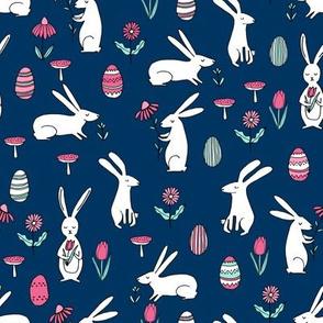 easter bunnies // navy blue bunny easter egg spring florals spring