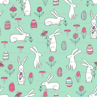 easter bunnies // mint green bunny easter egg spring florals spring