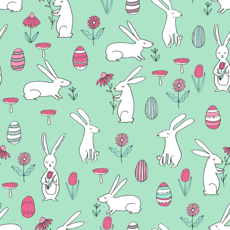 easter bunnies // mint green bunny easter egg spring florals spring fabric by andrea_lauren on Spoonflower - custom fabric