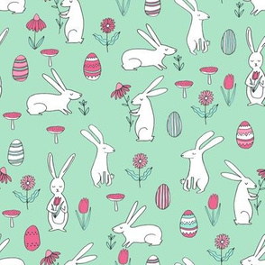 easter bunnies // mint green bunny easter egg spring florals spring