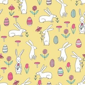 easter bunnies // yellow pastel bunny easter egg spring florals spring