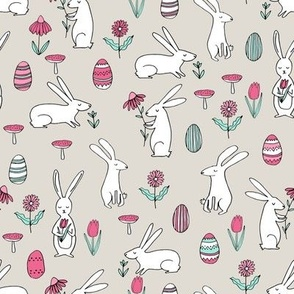 easter bunnies // light neutral bunny easter egg spring florals spring