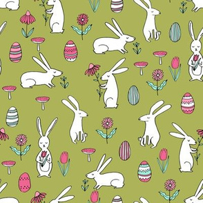 easter bunnies // lime green bunny easter egg spring florals spring