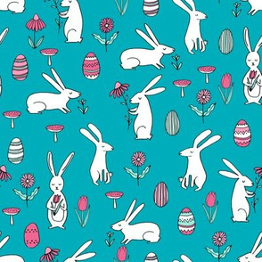 easter bunnies // turquoise bunny easter egg spring florals spring