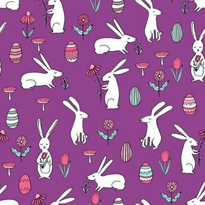 easter bunnies // purple bunny easter egg spring florals spring