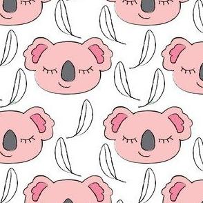 pink koalas-with-white-eucalyptus leaves