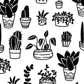 Cactus & Succulents Black & White