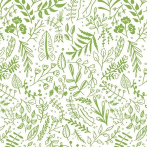 Greenery Block Print Pattern