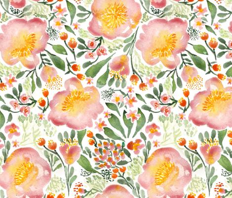 Elegant tropical watercolor florals fabric by laurawrightstudio on Spoonflower - custom fabric