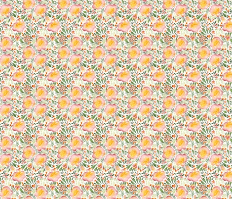 Elegant tropical watercolor florals fabric by laurawrightstudio on Spoonflower - custom fabric