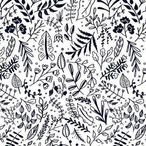 Garden Leaves Block Print Black On White fabric by kitcronk on Spoonflower - custom fabric