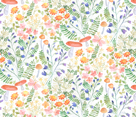 watercolour garden fabric by cjldesigns on Spoonflower - custom fabric