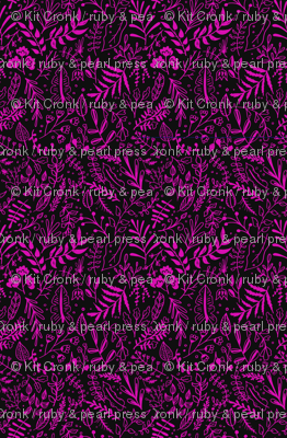 Garden Leaves Block Print Pattern - Hot Pink On Black
