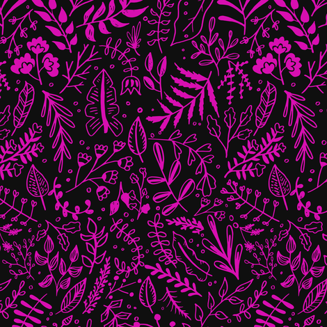 Garden Leaves Block Print Pattern - Hot Pink On Black fabric by kitcronk on Spoonflower - custom fabric