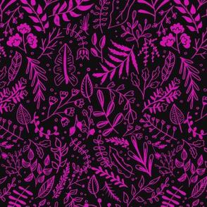 Garden Leaves Block Print Pattern - Hot Pink On Black
