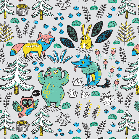Enchanted forest fabric by penguinhouse on Spoonflower - custom fabric