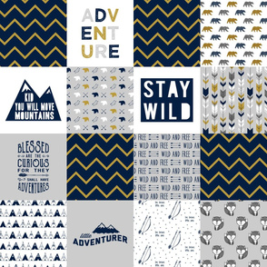 wholecloth adventure - navy and mustard