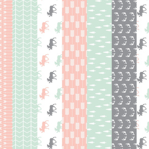 1 yard cut - Wholecloth Moose Quilt top (90) // Pink/Grey/Mint