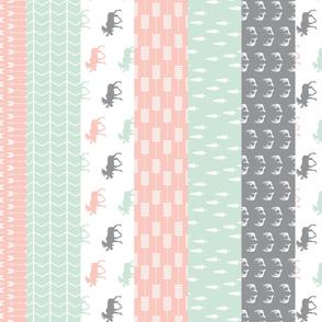 1 yard cut - Wholecloth Moose Quilt top (90) // Pink/Grey/Mint
