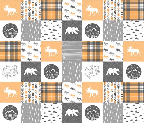Fearfully and Wonderfully Made - Patchwork woodland quilt top  (V2) fabric by littlearrowdesign on Spoonflower - custom fabric