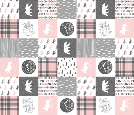 Pink and Grey Fearfully and Wonderfully Made (90) - Patchwork woodland quilt top  fabric by littlearrowdesign on Spoonflower - custom fabric