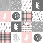 Pink and Grey Fearfully and Wonderfully Made (90) - Patchwork woodland quilt top