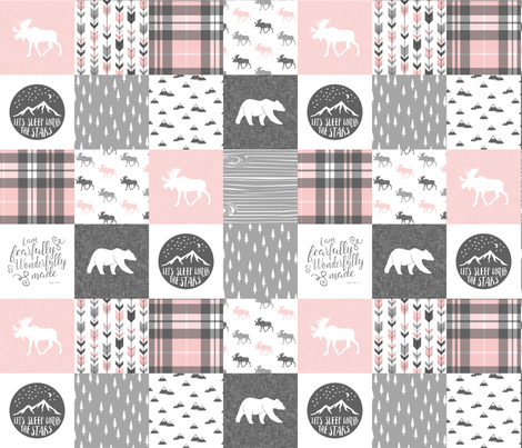 Pink and Grey Fearfully and Wonderfully Made - Patchwork woodland quilt top  fabric by littlearrowdesign on Spoonflower - custom fabric