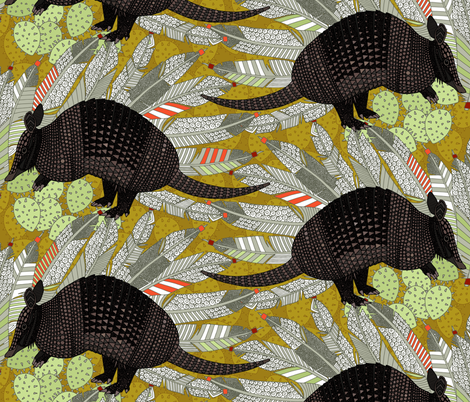 native armadillos gold fabric by scrummy on Spoonflower - custom fabric