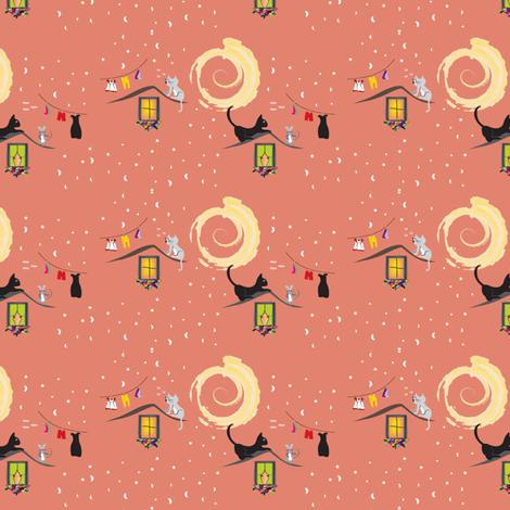 Cat On A Hot Tin Roof Peach Fabric Applebutterpattycake Spoonflower