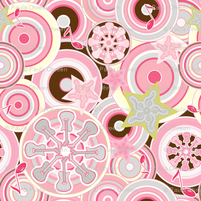 Seventies Bohemian Rock Inspired Geometric Circles and Stars in Pink and Brown