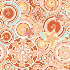 Seventies Bohemian Rock Inspired Geometric Circles and Stars in Orange and Blue