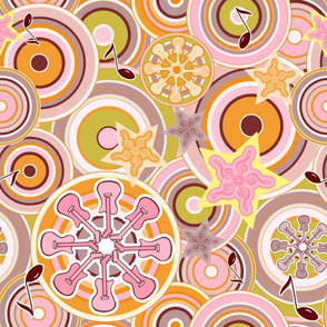Seventies Bohemian Rock Inspired Geometric Circles and Stars in Pink and Green