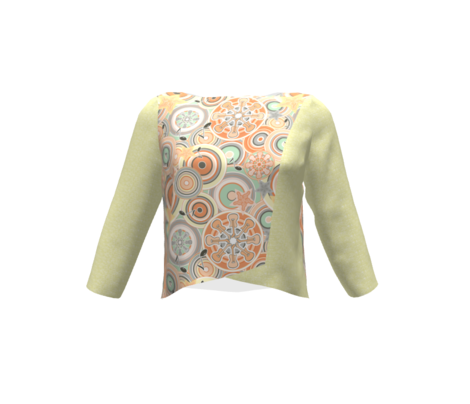 Seventies Bohemian Rock Inspired Geometric Circles and Stars Orange, Green and Grey with Guitars and Music Symbols