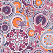 Seventies Bohemian Rock Inspired Geometric Circles and Stars in Purple and Orange