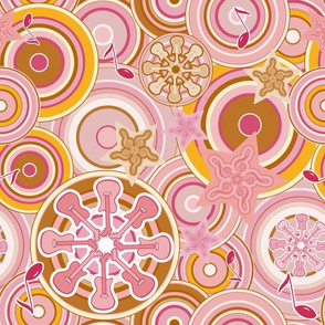 Seventies Bohemian Rock Inspired Geometric Circles and Stars in Pink and Gold