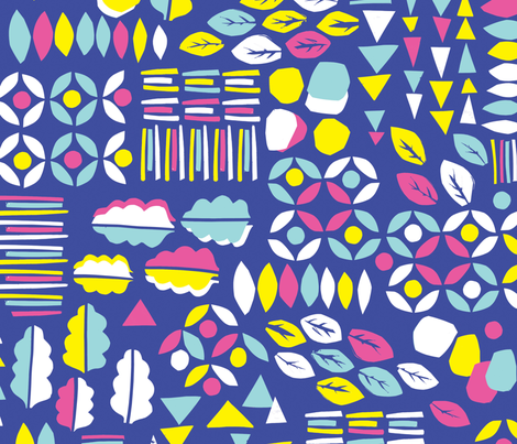 Cut Floral Jamboree Blue fabric by orozco_studio on Spoonflower - custom fabric