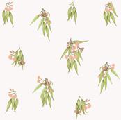 Gumnuts Flowering Eucalyptus Ditsy Bronze Peach Green