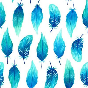 Watercolor feathers blue (small)